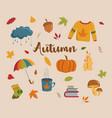 set autumn icons vector image