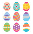 set easter eggs flat design on white background vector image vector image