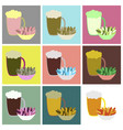 set icons in flat design beer and nuts vector image vector image