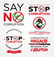 set lettering stop corruption day for vector image
