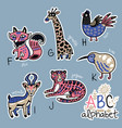 set of cute patch badges with animals alphabet f vector image vector image