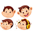 set of monkey cartoon head vector image