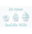set of white ice cream with vanilla milk of vector image