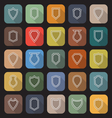 Shield line flat icons with long shadow vector image vector image