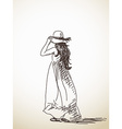 sketch woman in hat back view hand drawn vector image