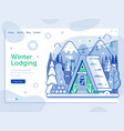 ski resort landing page with winter cabin vector image vector image