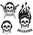 Skull in motorcycle helmet with fire Hellraiser vector image vector image