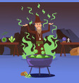 sorcerer casting a spell vector image