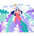 sun the tropical leaves and girl holding flower vector image