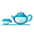 tea pot and cup icon cartoon style vector image vector image