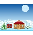 Village on background of the snow mountains vector image vector image