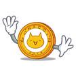 waving monacoin character cartoon style vector image vector image