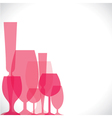 wine glass pink background vector image vector image