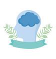 world mental health day profile head brain emblem vector image vector image