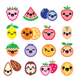 Kawaii fruit and nuts cute characters design vector image