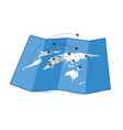 map of the world with airplane set four vector image