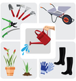 Gardening colorful icons set vector image