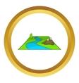 River avd mountains icon vector image