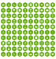 100 business career icons hexagon green vector image vector image