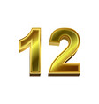 3d golden number 12 isolated on white background