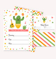 baby shower card with cute cactus vector image vector image