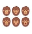 bigfoot emoji set yeti sad and angry face vector image vector image