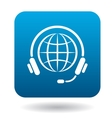 Calls around world icon flat style vector image vector image