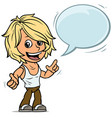 cartoon blonde boy character with speech bubble vector image vector image