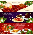 Christmas dinner dishes with holly and gift banner vector image vector image