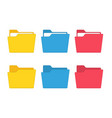 colorful file folder set vector image vector image