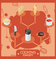 cooking color isometric concept icons vector image