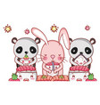 cute animals with sushi kawaii vector image