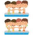 cute boys sit at the edge of the pool and embrace vector image vector image