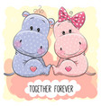 cute cartoon hippos boy and girl vector image vector image