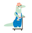 cute crocodile boy hand drawn vector image vector image