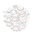 cute dinosaurs doodles set cute dino set vector image