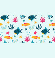 cute fish seamless pattern design with starfish vector image vector image