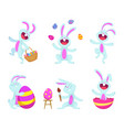 easter rabbits in cartoon style vector image