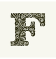 Elegant capital letter F in the style Baroque vector image vector image