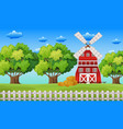 farm scene with windmill in the field vector image vector image