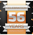 Fifty six years anniversary celebration golden and vector image vector image