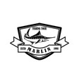 fishing tour emblem template with marlin design vector image vector image