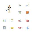 flat icons clothes washing aqua mopping and vector image vector image