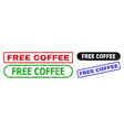 free coffee rectangle stamp seals using unclean vector image vector image