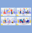 friends meeting family walking and recreation set vector image vector image