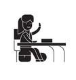 girl at a desk black concept icon girl at vector image vector image