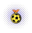 Gold soccer medal icon comics style vector image vector image