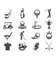 golf sport game glyph icons set vector image vector image