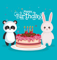 happy birthday card with bear panda and rabbit vector image