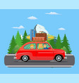 happy family traveling by car vector image